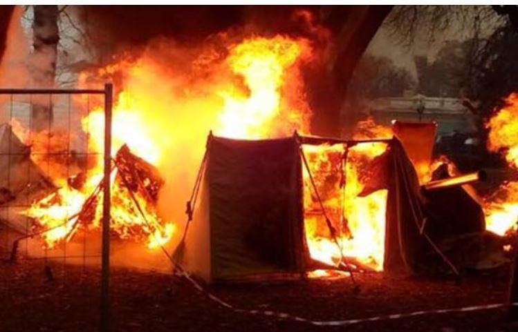 В палаточном городке Саакашвили случился пожар