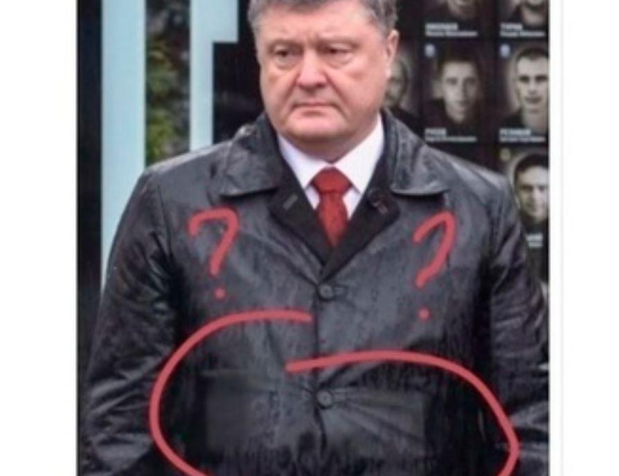 Украинские СМИ смогли узнать тайну скрывающегося под плащом Порошенко предмета
