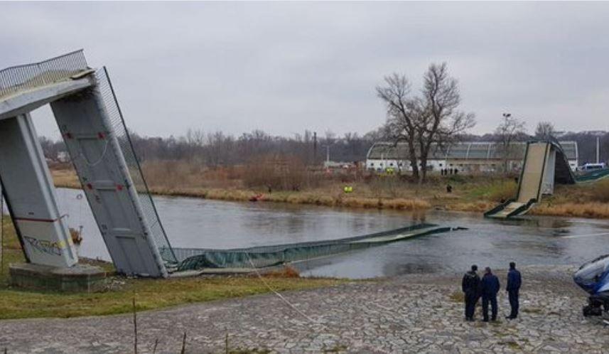 В Праге разрушился мост для пешеходов