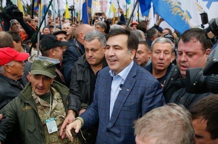 Саакашвили и его сторонники перекрыли Крещатик и готовятся к митингу