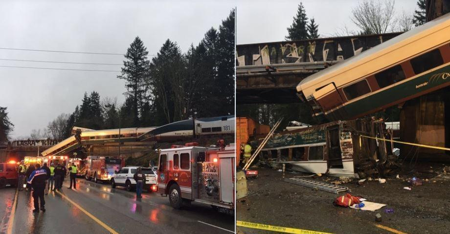В США скоростной поезд сошёл с рельсов и упал на шоссе
