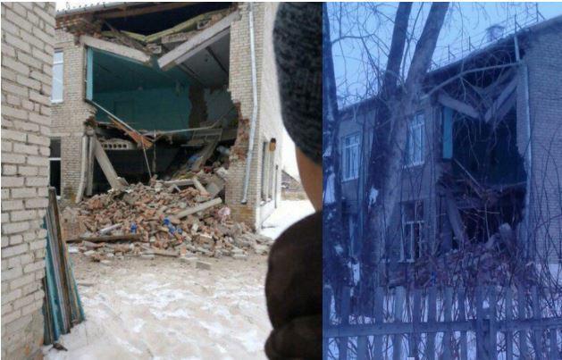 Стена школы обрушилась в поселке под Новосибирском